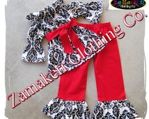 Girl Christmas Outfit Toddler Baby Infant Damask Pant Outfit Set Custom Boutique Clothes 3 6 9 12 18 24 month size 2T 2 3T 3 4T 4 5T 5 6 7 8