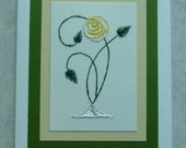 Hand embroidered Rose gift/greeting card