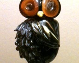 lampwork owl, glass owl, artisan owl bead, sra glass bead, focal owl bead, glass owl bead
