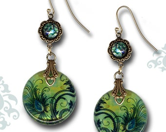 Peacock Earrings - Two Sided Glass Art - Voyageur - The Alhambra Collection - Peacock Feather Fleur