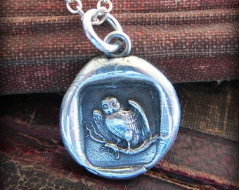 Owl Pendant - Owl Wax Seal Necklace - symbol for Wisdom, Vigilance, Mystery & Protection - E2330