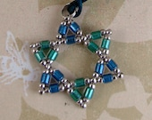 STAR of DAVID beadwoven necklace, miyuki delica beads, blue aqua silver