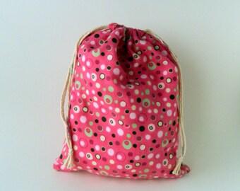 Pink Drawstring Bag, geometric circles drawstring bag, children crayons storage bag, reusable snacks bag, girls drawstring bag