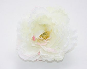 Whimsical Peony in Shabby Chic White with Fuchsia Accents -- Artificial Flower, Millinery Flower - ITEM 0752