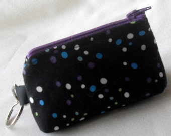 Key Fob Change Purse, Polka Dots Credit Card Holder, Black with Dots Key Fob, Change Purse Key Fob, Small Key Fob Change Purse, Handmade