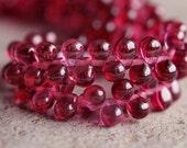 Czech Glass Bead Transparent Fuchsia 4x6mm Tear Drop : 50 pc