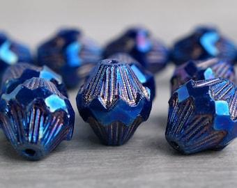 Blue Iris Czech Glass Bead 13x11mm Carved Baroque Bicone : 6 pc