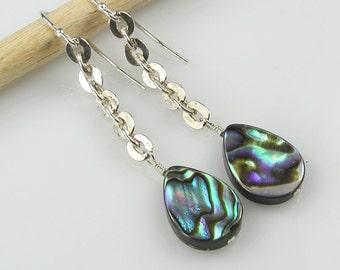 Abalone Dangle Earrings Sterling Silver