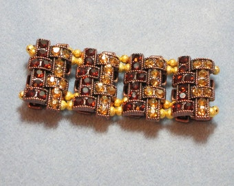 Gold and Rust Colored Cuff Bracelet (869)