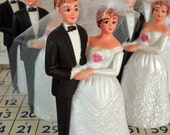Vintage / Bride and Groom / Wedding Cake Topper / Kitschy Retro Charm / Plastic / Bridal Shower / Dessert Bar