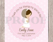 PRINTABLE First Holy Communion Favor Tags in Pink /  Print Your Own Personalized Stickers for First Holy Communion / Choose Hair Color