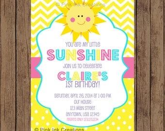 You Are My Sunshine Birthday Invitation - Garden Party, Spring Summer Birthday-  PRINTABLE -  YOU Print