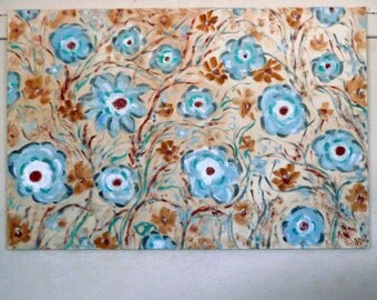 Large floral painting blue , gray, copper tan , white with a touch of teal mixed medium flowers  36 x 24 by Vadal