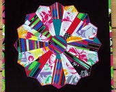 Dresden Plate Quilted Table Topper,  Circle Star Flower  Wall Hanging Multi-color, Quiltsy Team