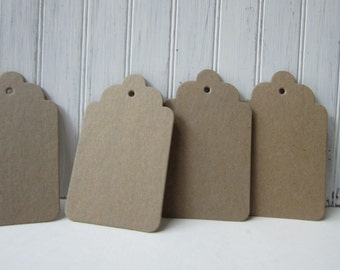 Chipboard Tags, 12 Large Tags, Heavy Cardboard Tags, Scalloped Large Tags, Scrapbook Tags, Kraft Tags, Raw Chipboard Tags