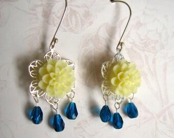 Yellow Flower Earrings, Chandelier Earrings, Blue and Yellow Flower Sterling Earrings, Gift for Her Jewelry