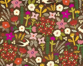 LAST 3/4 Yard - Petite Fleurs - For Windham Fabrics - Swallows - Wood - 1 Yard - 5.25 Dollars