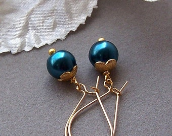 Wedding Bridal Jewelry – Teal Czech Glass Earrings, Bridesmaids Gift, Bridal Jewelry, Pearl Earrings - 4042