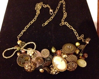 Vintage Buttons and Cameo Steampunk Collage Bib Necklace