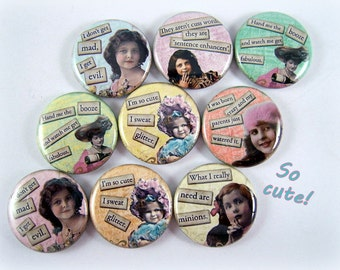 """1"""" Inch Sassy Quotes Flatback Buttons, Pins, Magnets 12 Ct."""
