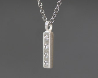 Tiny Vertical Bar Necklace in Sterling Silver with Diamonds on Stainless Steel Chain