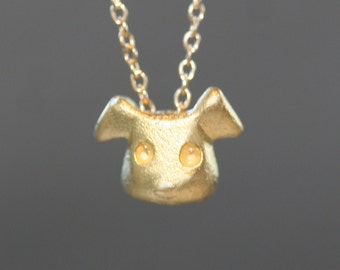 Puppy Necklace in Gold Vermei l(READY TO SHIP)