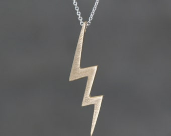 Long Lightening Bolt Necklace in Brass with Sterling Silver Chain