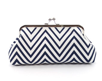 Chevron Bridesmaid Clutch Navy White Thin Chevron Clutch Purse