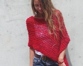Red Poncho, women's poncho, hand knit wrap