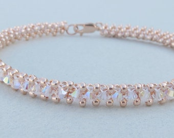 Swarovski Crystals Bracelet and Rose Gold Seed Beads