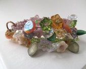 Beadwoven Wrap Bracelet with Glass Flowers and Vintage Beads
