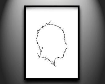 Branch Profile, framed original hand-cut paper art