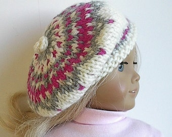 18 Inch Doll Clothes Knit Fair Isle Tam Beret Hat in Cream Rose and Grey Handmade to fit the American Girl and 18 Inch Dolls - Ready to Ship