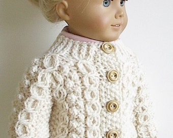 18 Inch Doll Clothes Knit Irish Fisherman Cardigan Sweater with Horseshoe Wishbone Cable Handmade to fit American Girl Doll - Ready to Go