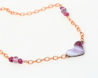 Heart Shaped  Fused Glass Necklace Mixed Media Copper Chain magenta pearl and purple murano glass Beads