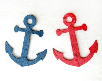 50 Plantable Seed Paper Anchors - Nautical Wedding Favors - Flower Seed Anchor DIY Place Cards - Red Navy Blue Plantable Paper