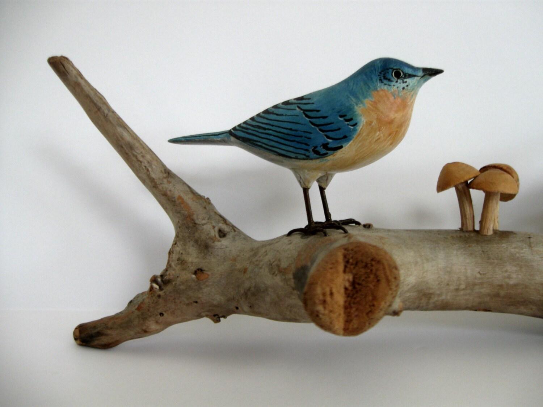 wonderful american folk art carved blue birds bird wood