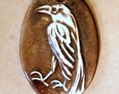 Handmade Ceramic Raven Bead - Oval Raven Bead with Brown glazed Stoneware
