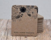 Custom Earring Cards Customized Jewelry Display Cards Flowers Black 00099
