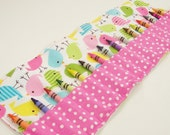 Ready To Ship - Crayon Roll Up - Spring Birdies Crayon Roll - 16 Crayons - Stocking Stuffer - Kids