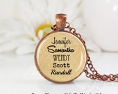 Round Medium Glass Bubble Pendant Necklace- Grandma- Mom- Custom Names- Grandkids- Children