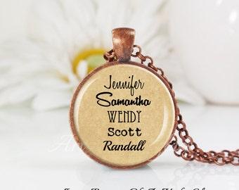 Round Medium Glass Bubble Pendant Necklace- Grandma- Mom- Custom Names- Grandkids- Children
