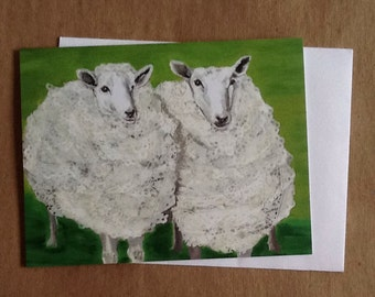 Double Sheep Single Notecard from Original Painting Collage