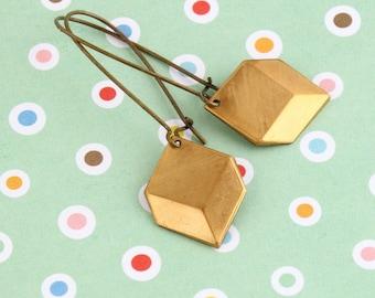 Brass Dangle Earrings, Minimalist Earrings, Modern Earrings, Geometric Earrings, Charm Earrings, Gift For Woman, Mothers Day Gift