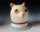 Ceramic Cat Sculpture & Vase - White cat with green eyes