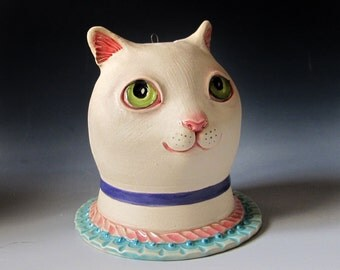 Ceramic Cat Sculpture & Vase - White cat with green eyes