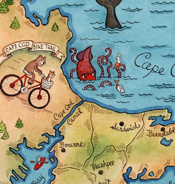 Map Of Cape Cod Art Print 11 X14