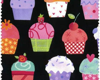 Sweet things, Row of  Cupcakes on Black, from LakeHouse Fabrics, yard