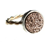 14k Gold-fill Twisted Ring with Rose Gold Drusy