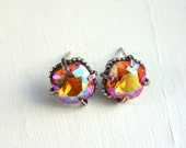 Pink Sunrise Swarovski Crystal and Cast Sterling Silver Beaded and Prong Setting